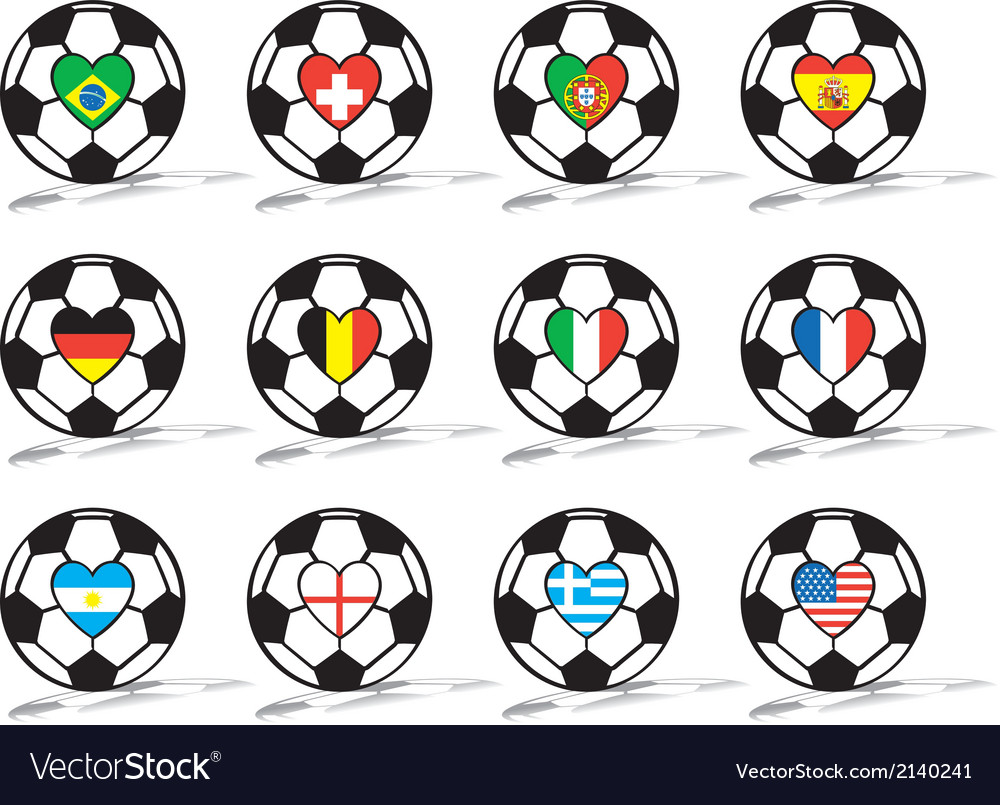 Soccer ball with heart vector