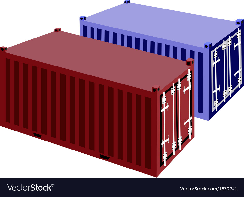 Two container cargo container on white background vector | Price: 1 Credit (USD $1)