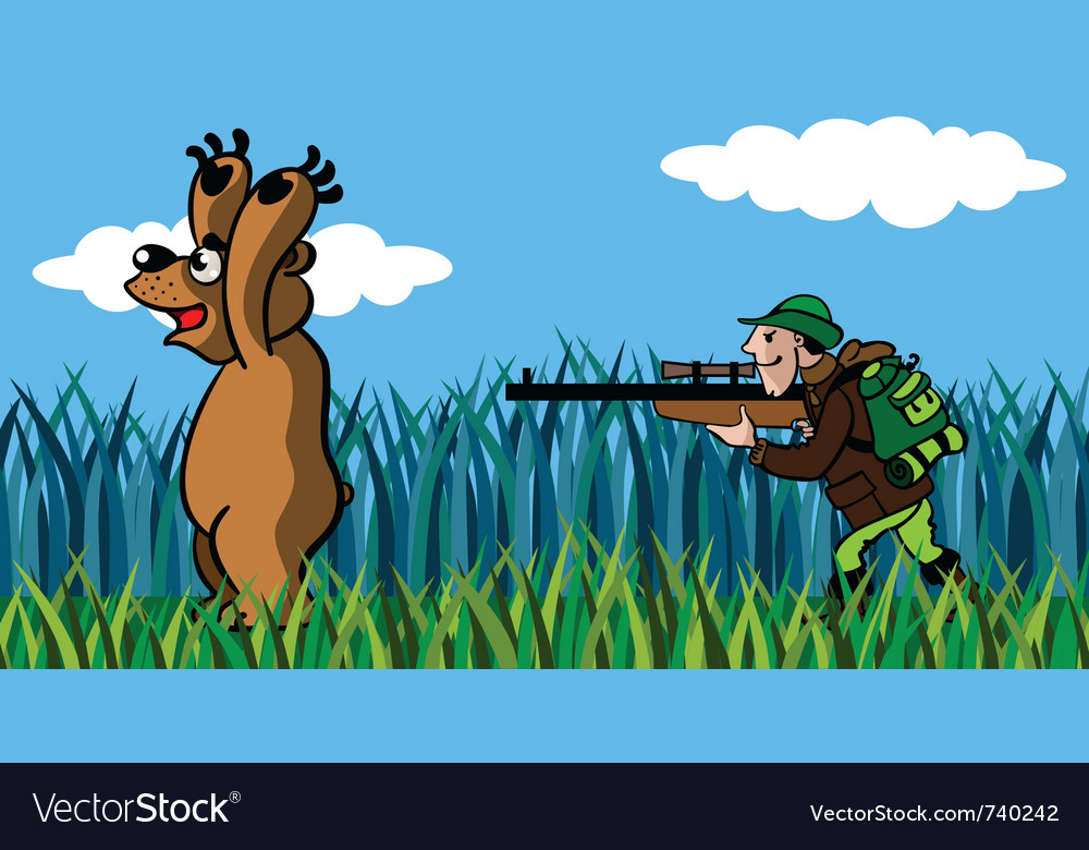 Bear and the hunter vector | Price: 3 Credit (USD $3)