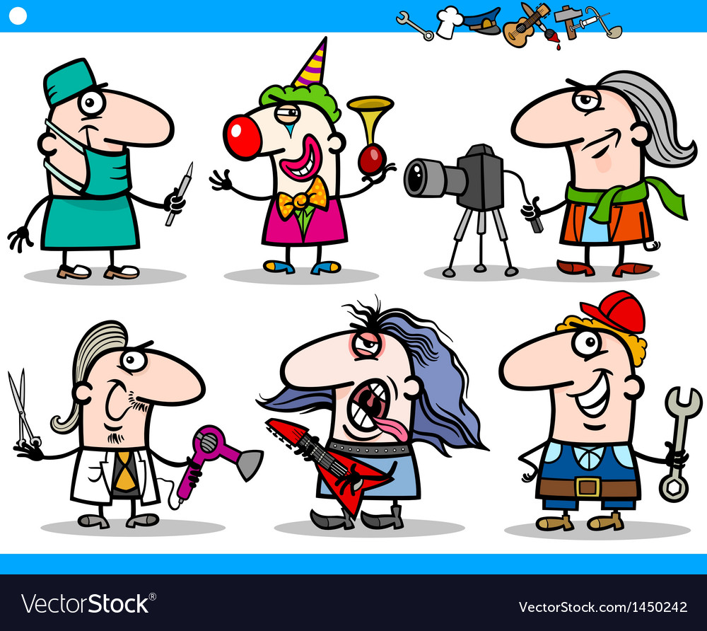 Cartoon people occupations characters set vector | Price: 3 Credit (USD $3)