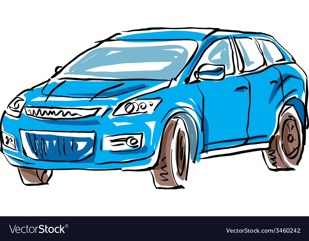 Colored hand drawn car on white background of a ha vector | Price: 1 Credit (USD $1)