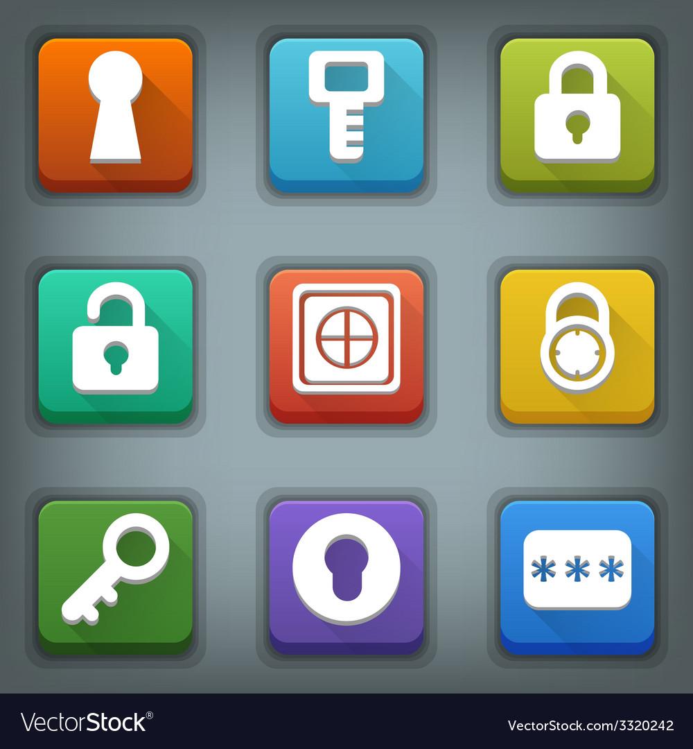 Flat icon set white symbols lock key password vector | Price: 1 Credit (USD $1)