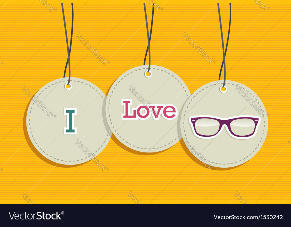 Hanging i love hipsters badges vector | Price: 1 Credit (USD $1)