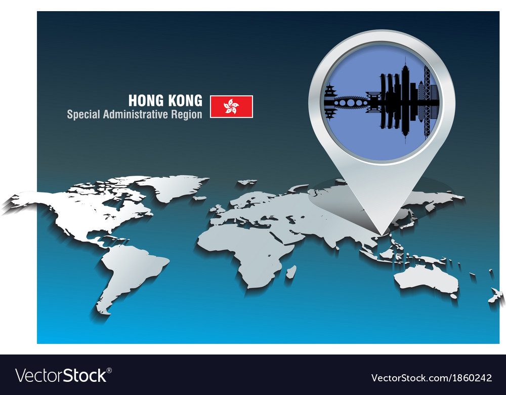 Map pin with hong kong skyline vector | Price: 1 Credit (USD $1)