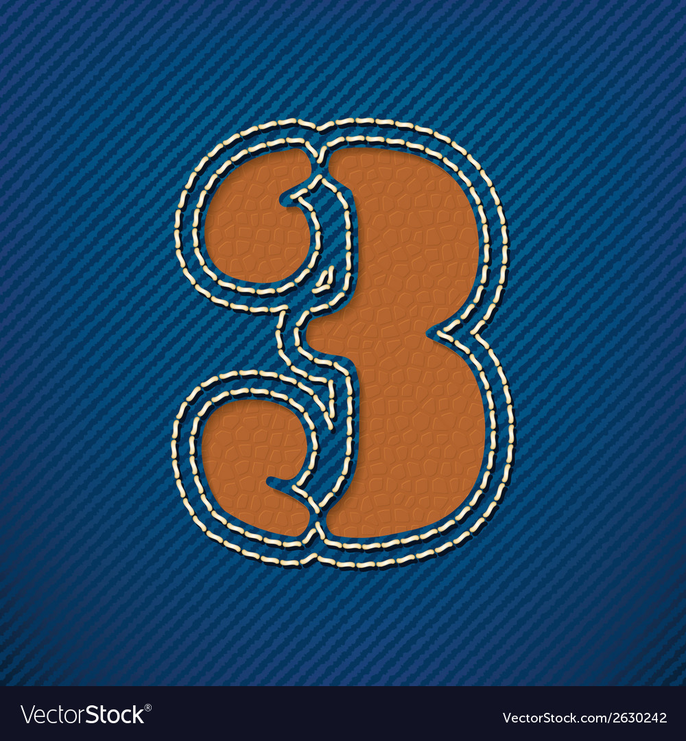 Number 3 made from leather on jeans background vector | Price: 1 Credit (USD $1)