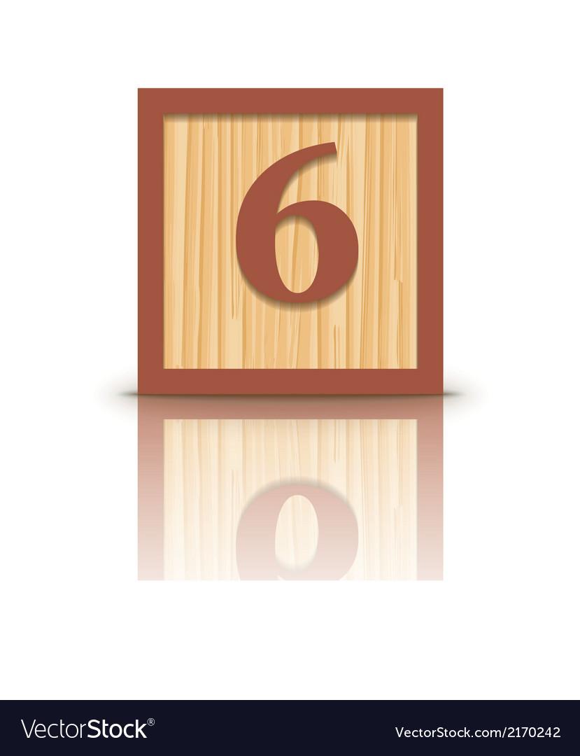 Number 6 wooden alphabet block vector | Price: 1 Credit (USD $1)