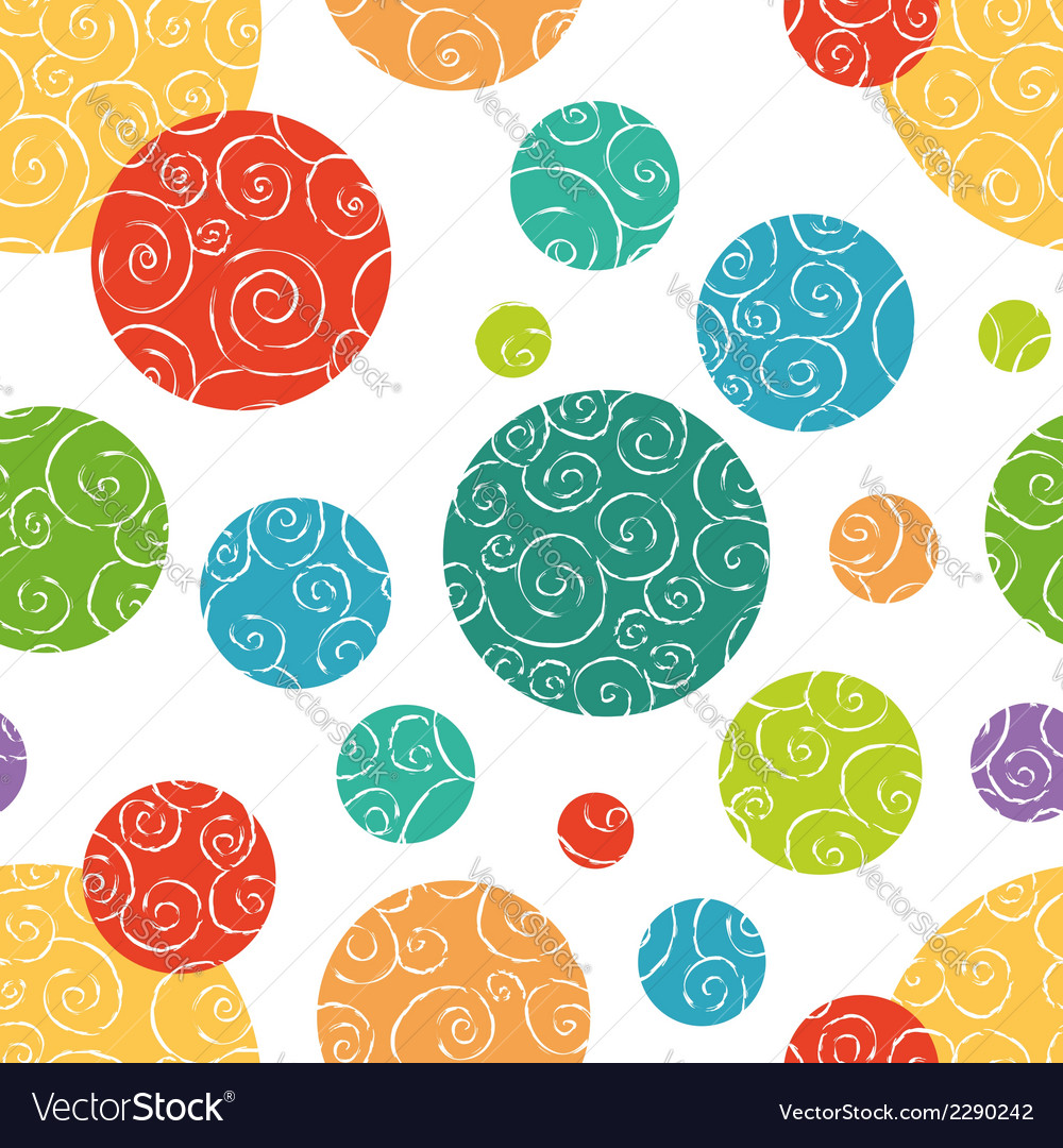 Seamless pattern with colorful doodle circles vector | Price: 1 Credit (USD $1)