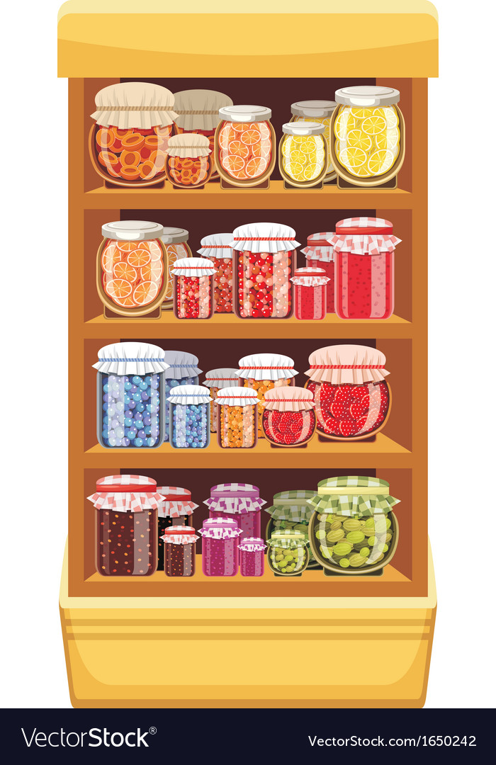Store shelves with jam vector | Price: 1 Credit (USD $1)