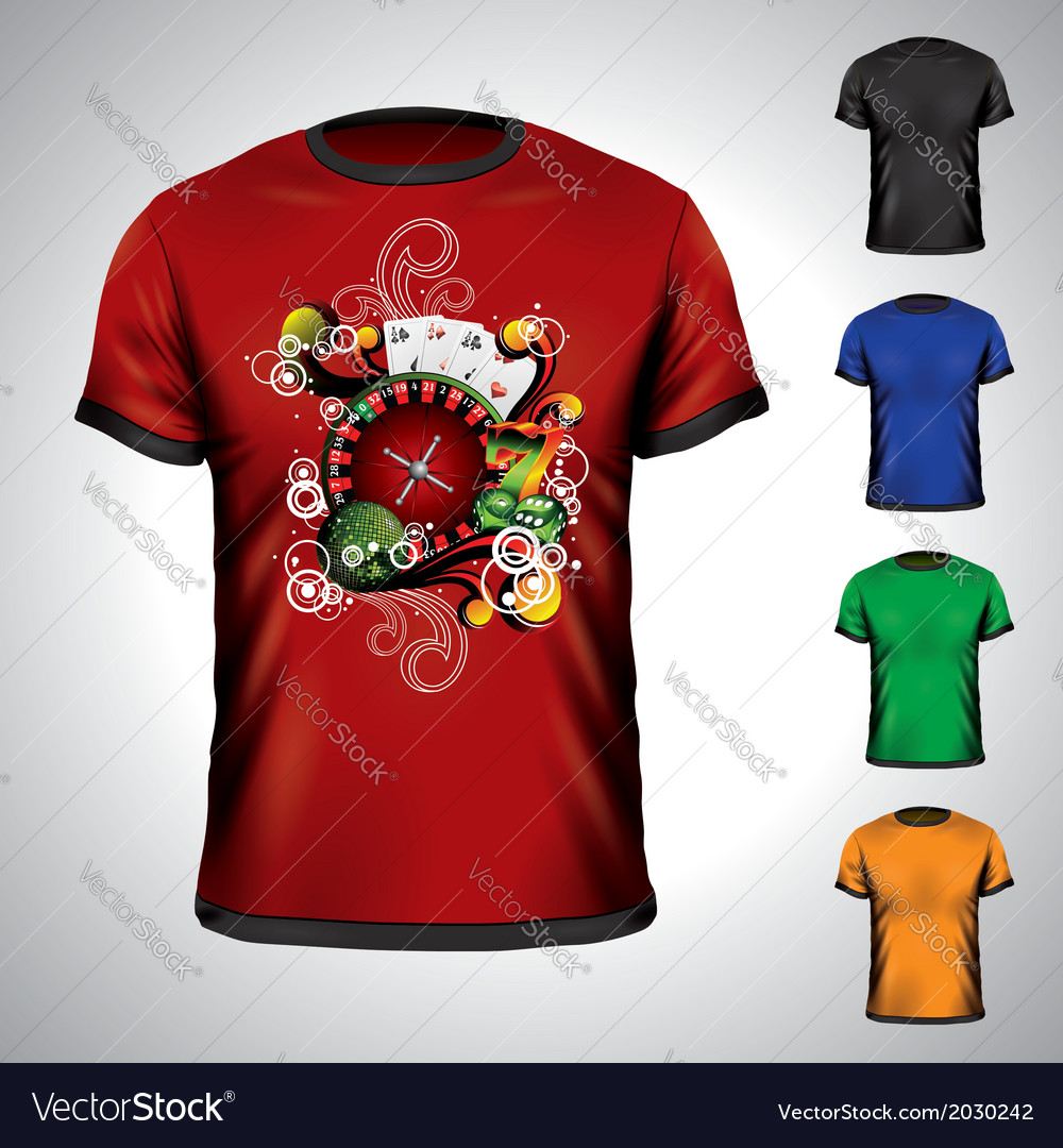T-shirt set on a casino theme vector | Price: 1 Credit (USD $1)