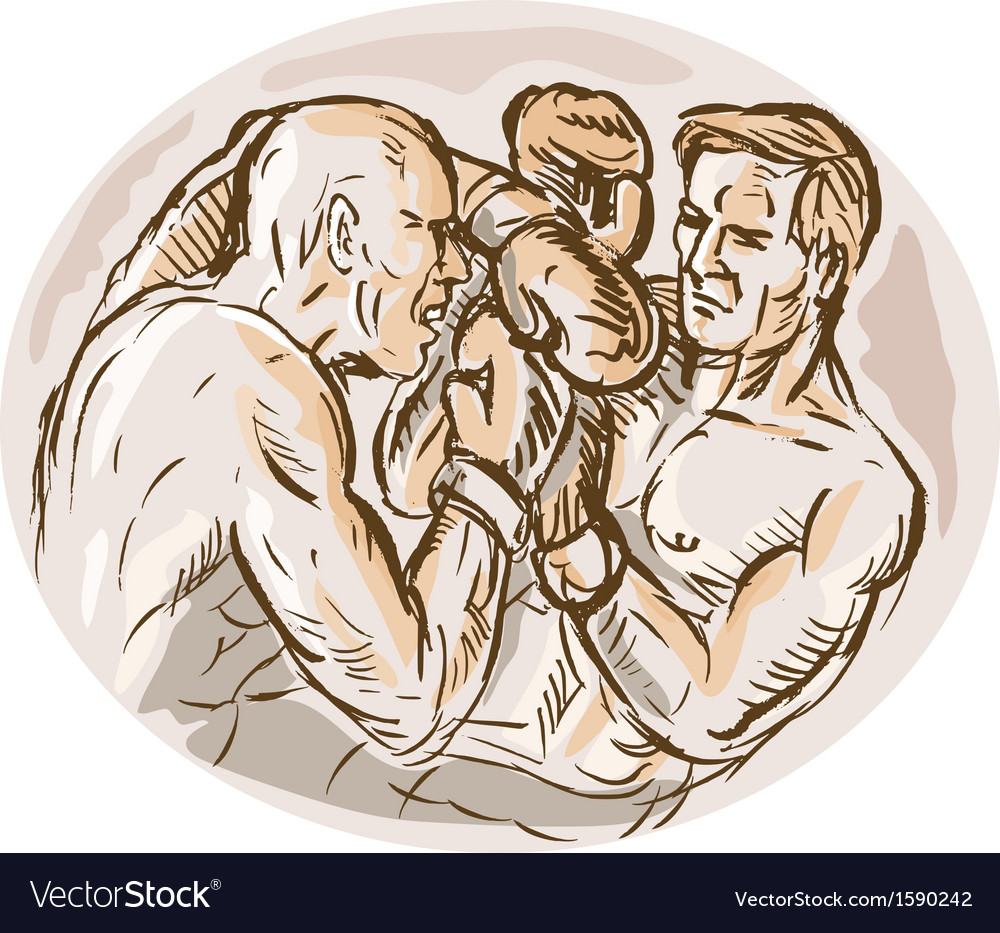 Two male boxers throwing punches vector | Price: 1 Credit (USD $1)