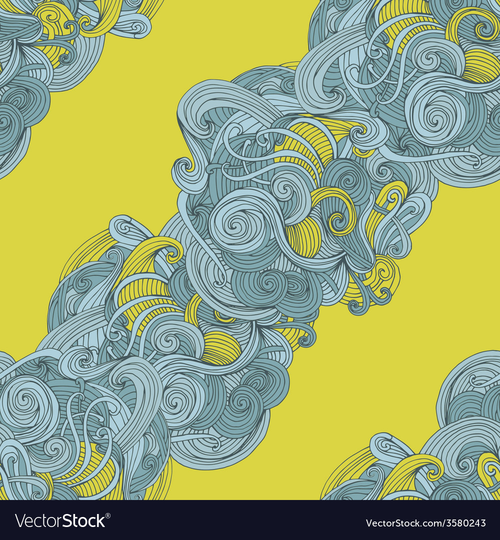Abstract seamless hand-drawn wave pattern vector | Price: 1 Credit (USD $1)