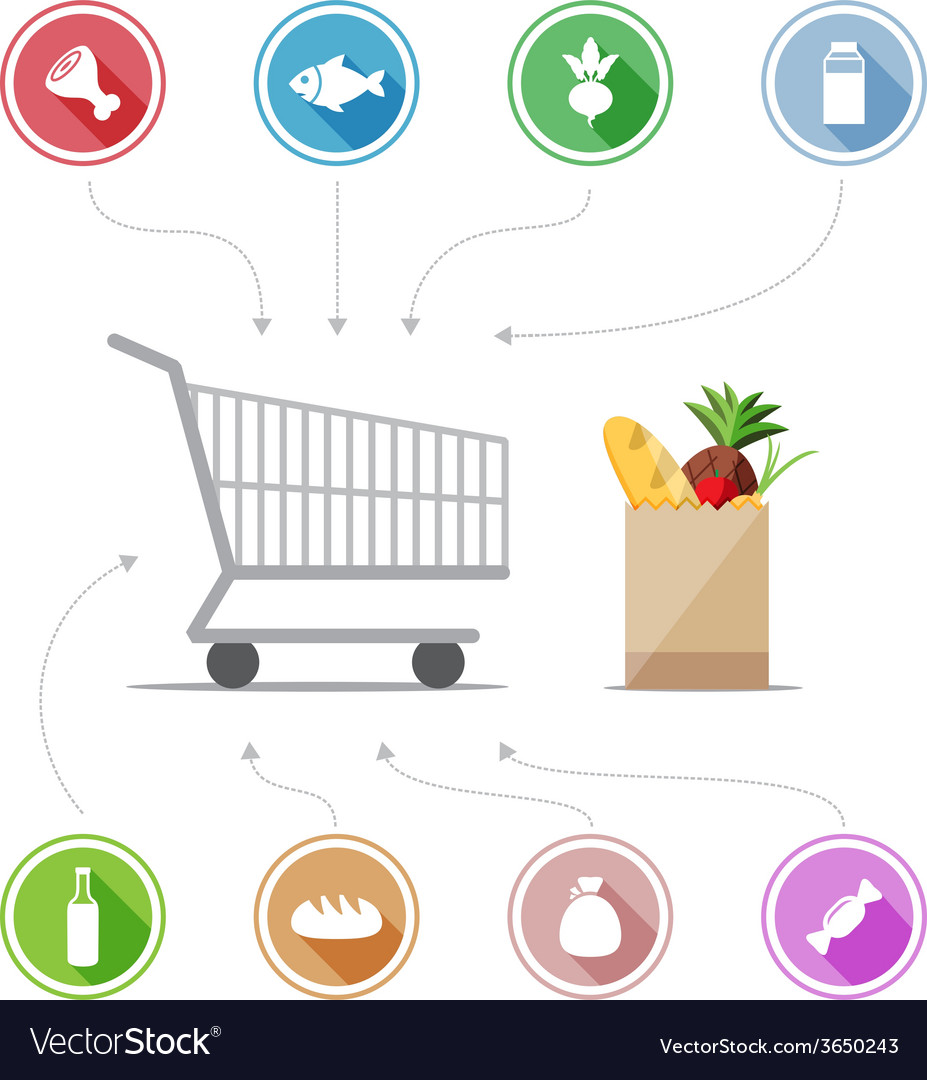 Buying food icons vector | Price: 1 Credit (USD $1)