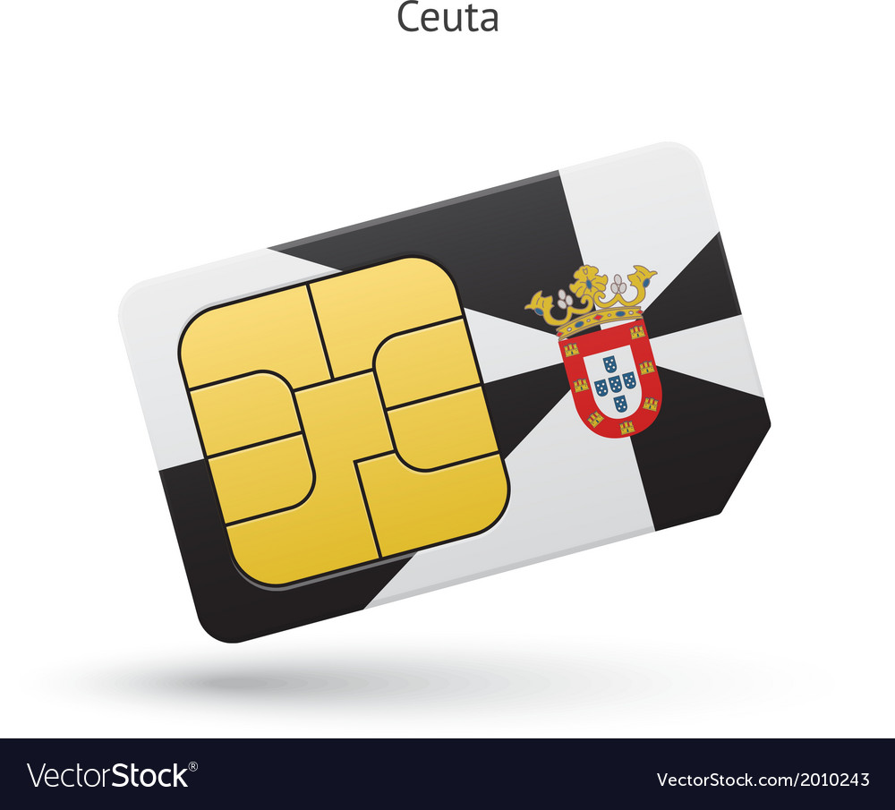 Ceuta mobile phone sim card with flag vector | Price: 1 Credit (USD $1)