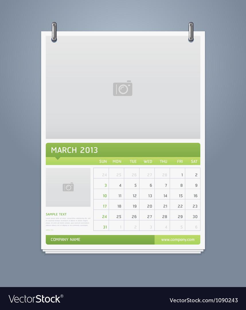 Clean calendar 2013 template design vector | Price: 1 Credit (USD $1)