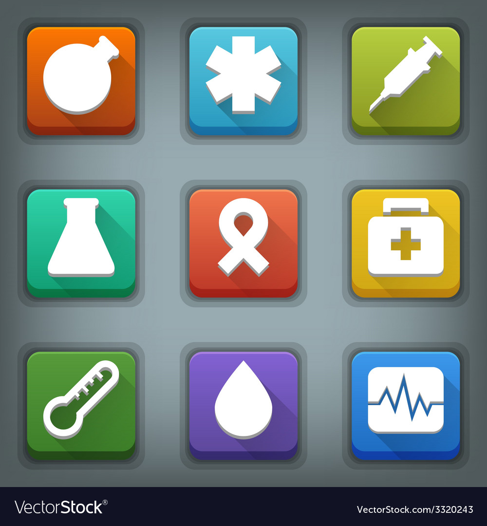 Flat icon set white symbols medical vector | Price: 1 Credit (USD $1)