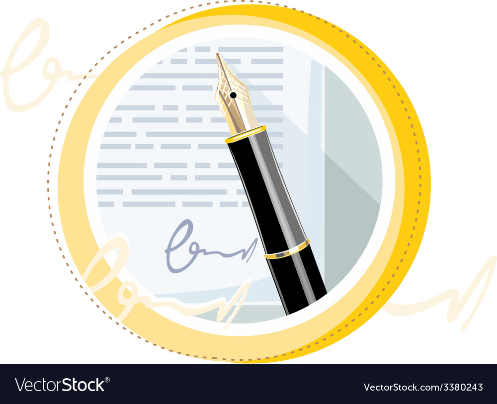Fountain ink old pen with paper page vector | Price: 1 Credit (USD $1)