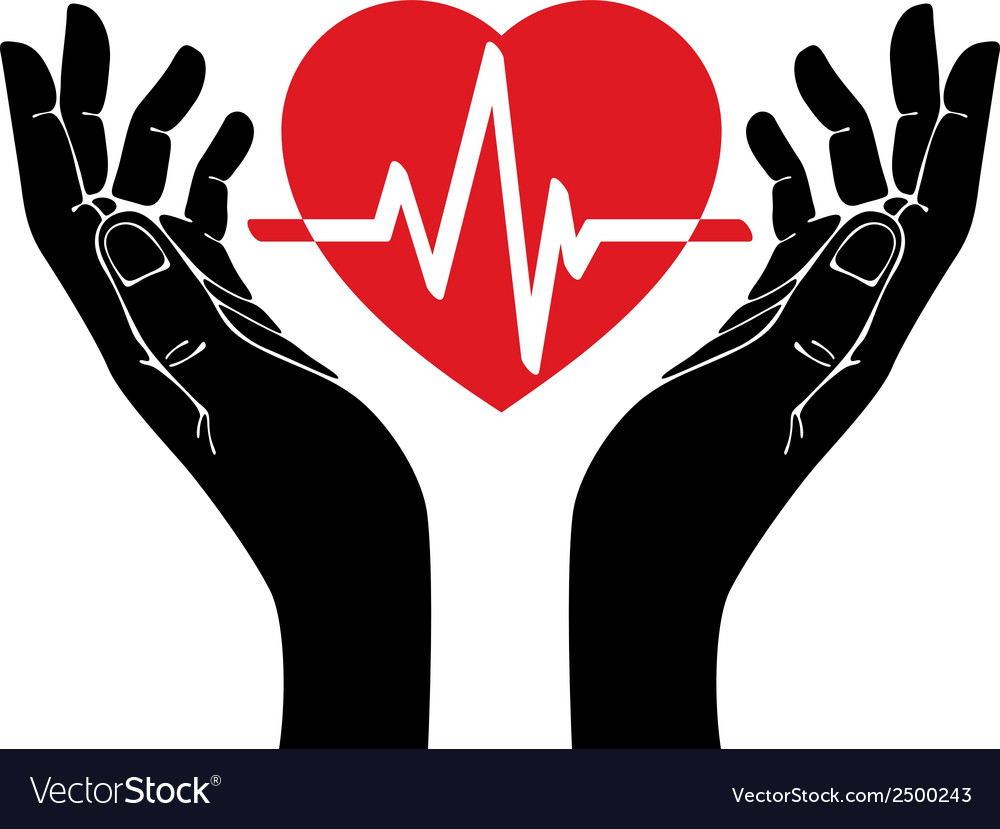 Hand with heart and cardiogram symbol vector | Price: 1 Credit (USD $1)