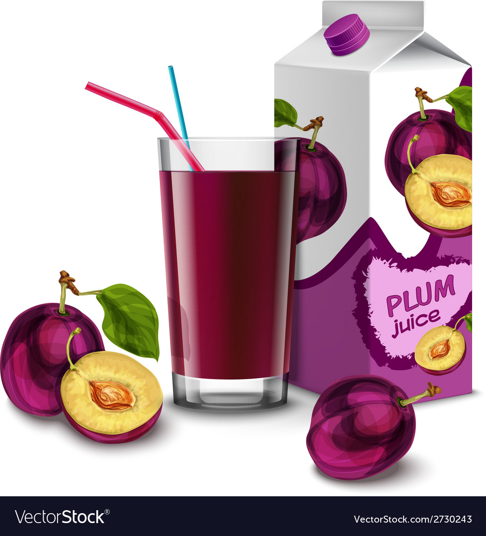 Plum juice set vector | Price: 1 Credit (USD $1)