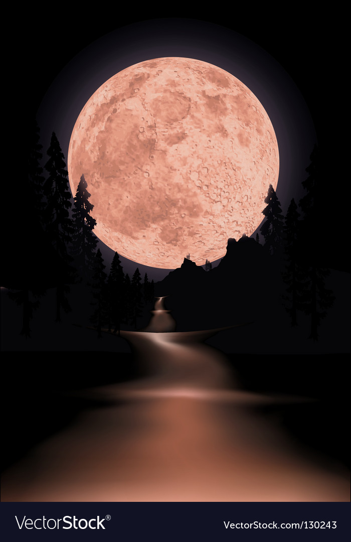 Red moon vector | Price: 1 Credit (USD $1)