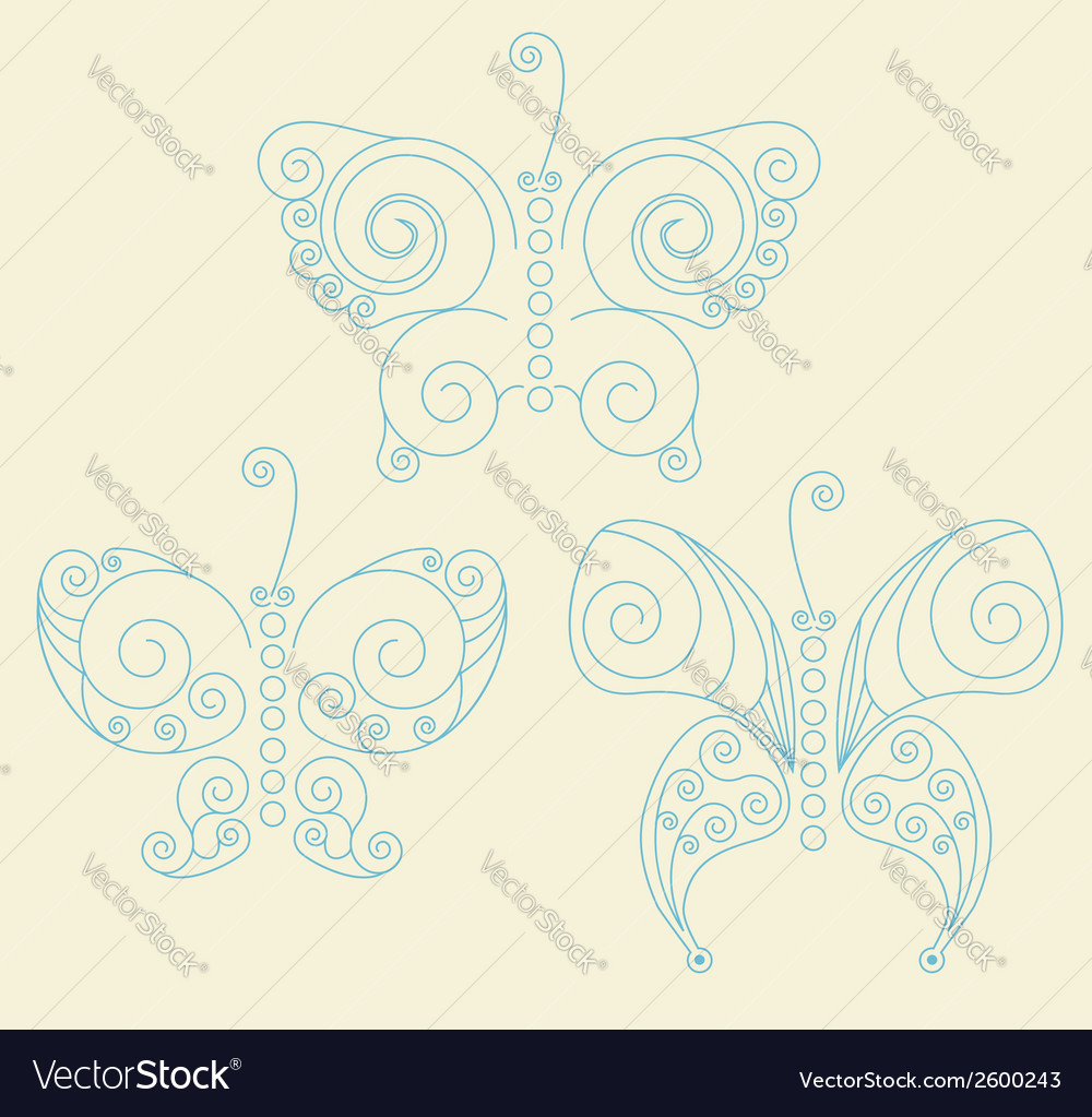 Set of three blue patterned butterflies vector | Price: 1 Credit (USD $1)