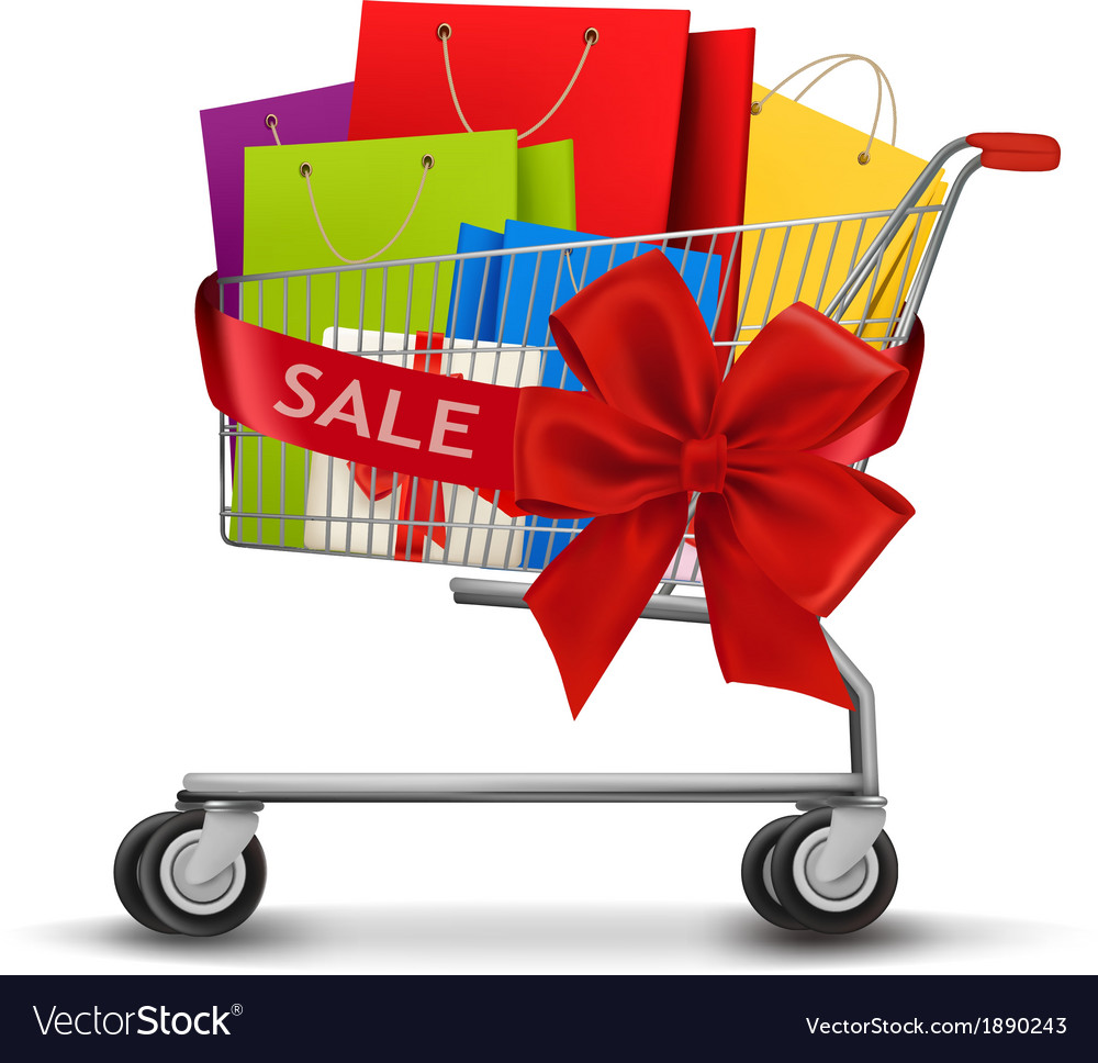 Shopping cart full of shopping bags and a gift bow vector | Price: 1 Credit (USD $1)
