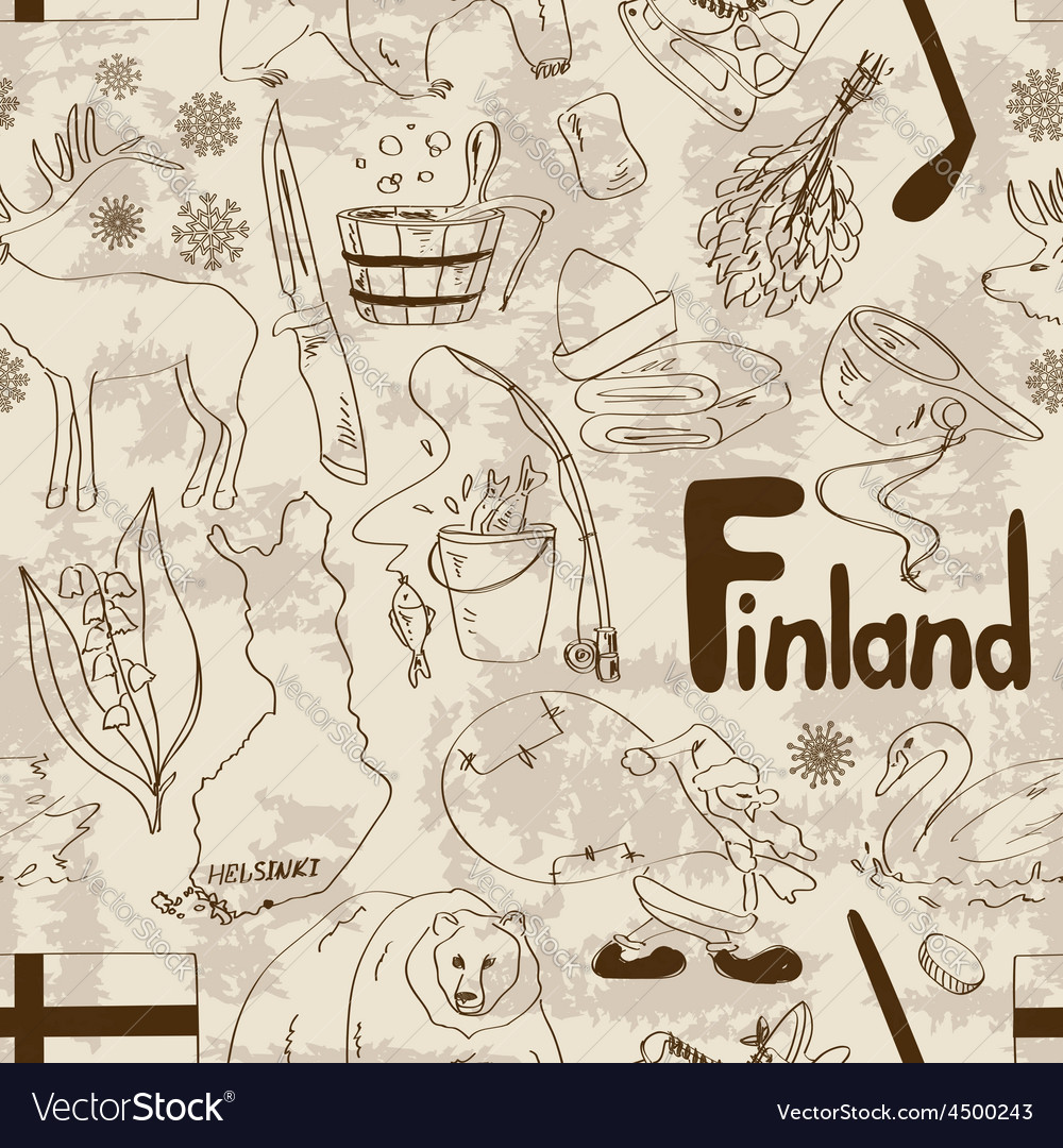 Sketch finland seamless pattern vector | Price: 1 Credit (USD $1)