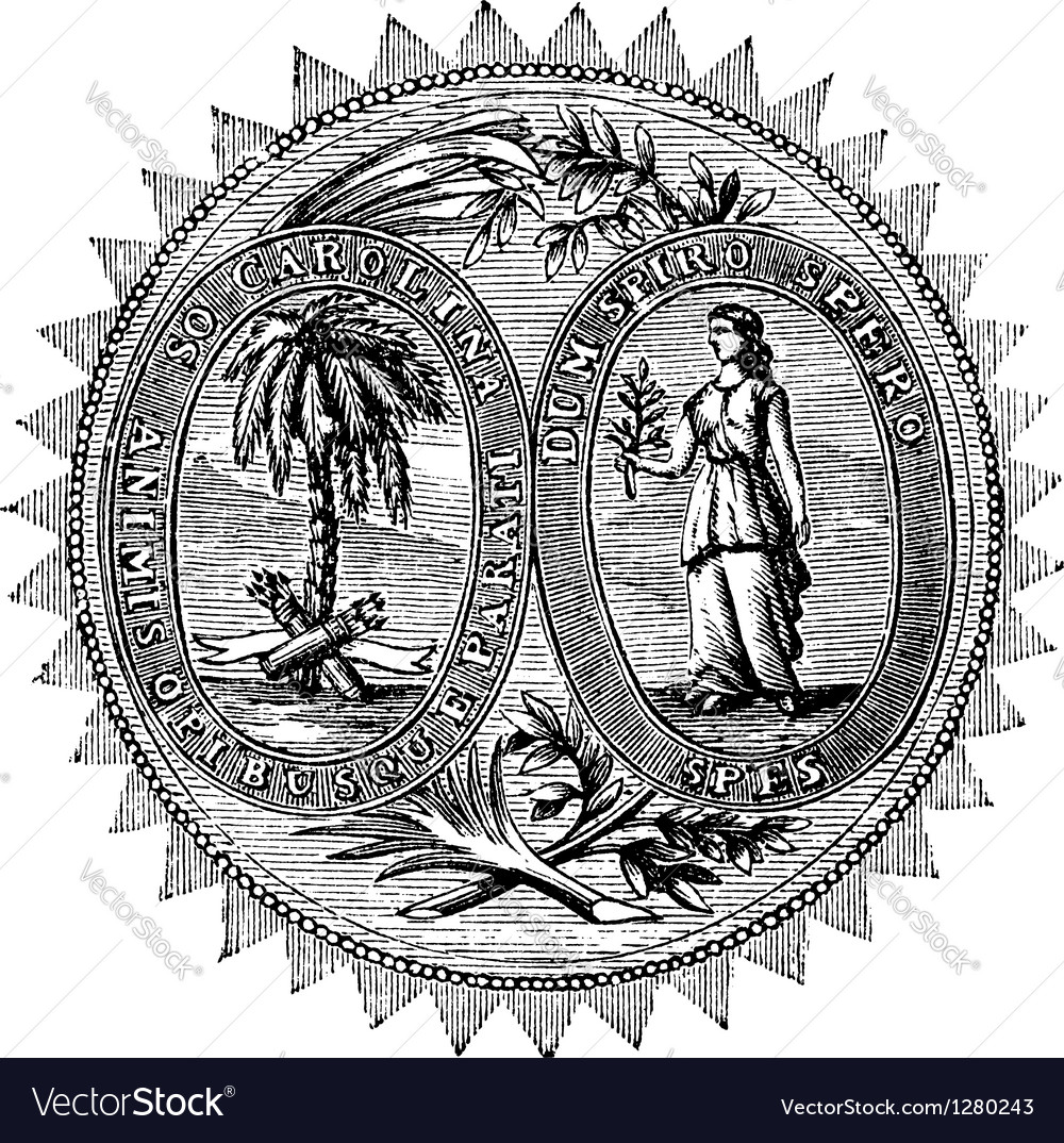South carolina seal engraving vector | Price: 1 Credit (USD $1)