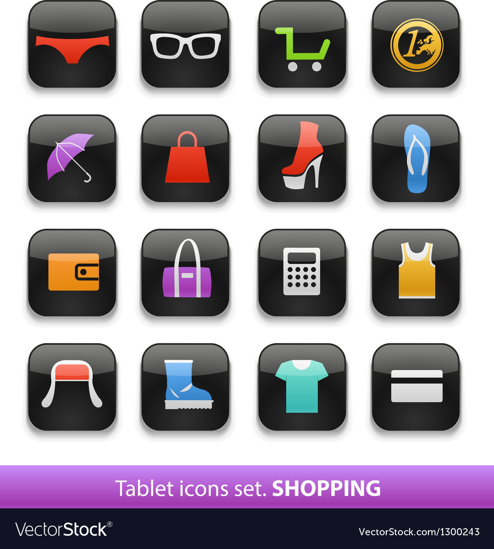 Tablet buttons collection vector | Price: 1 Credit (USD $1)