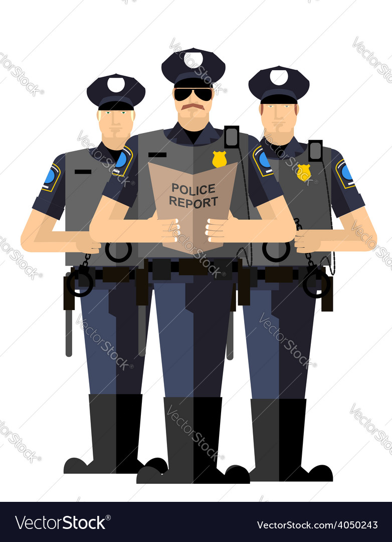Three police officers were arrested police vector | Price: 1 Credit (USD $1)