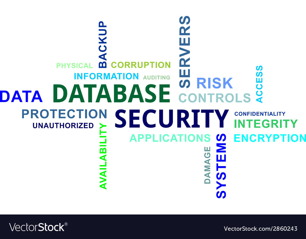 Word cloud database security vector | Price: 1 Credit (USD $1)