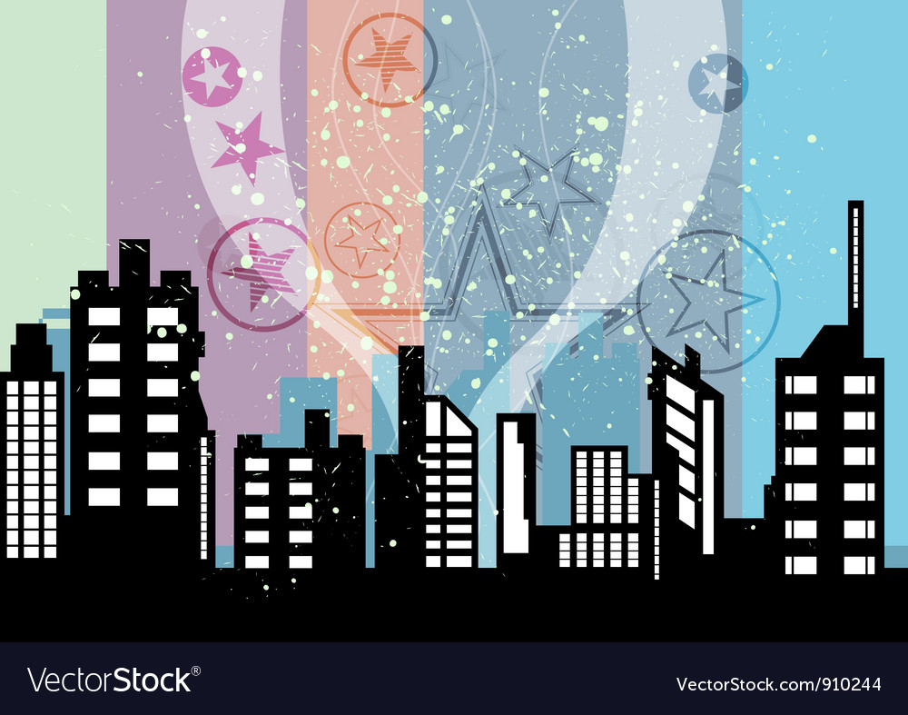 City celebrations with retro background vector | Price: 1 Credit (USD $1)