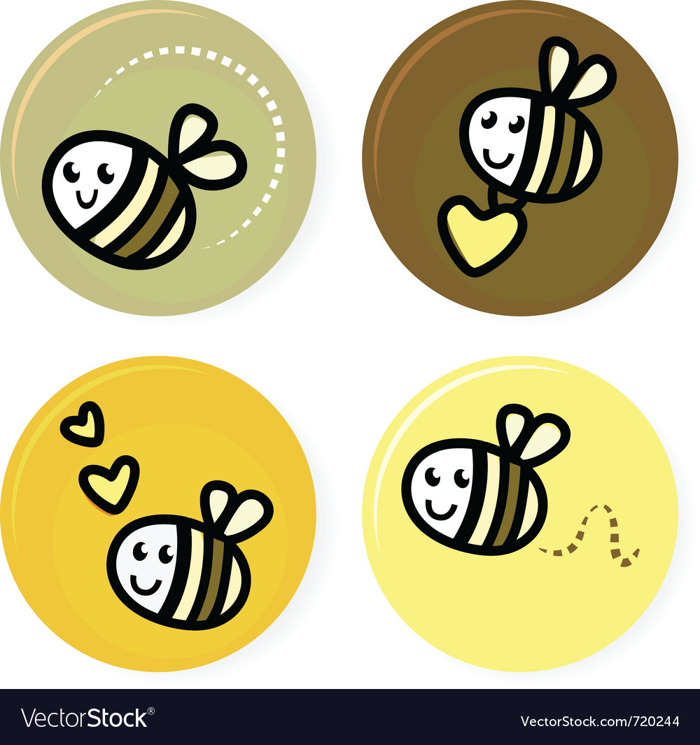 Cute doodle bee collection vector | Price: 1 Credit (USD $1)