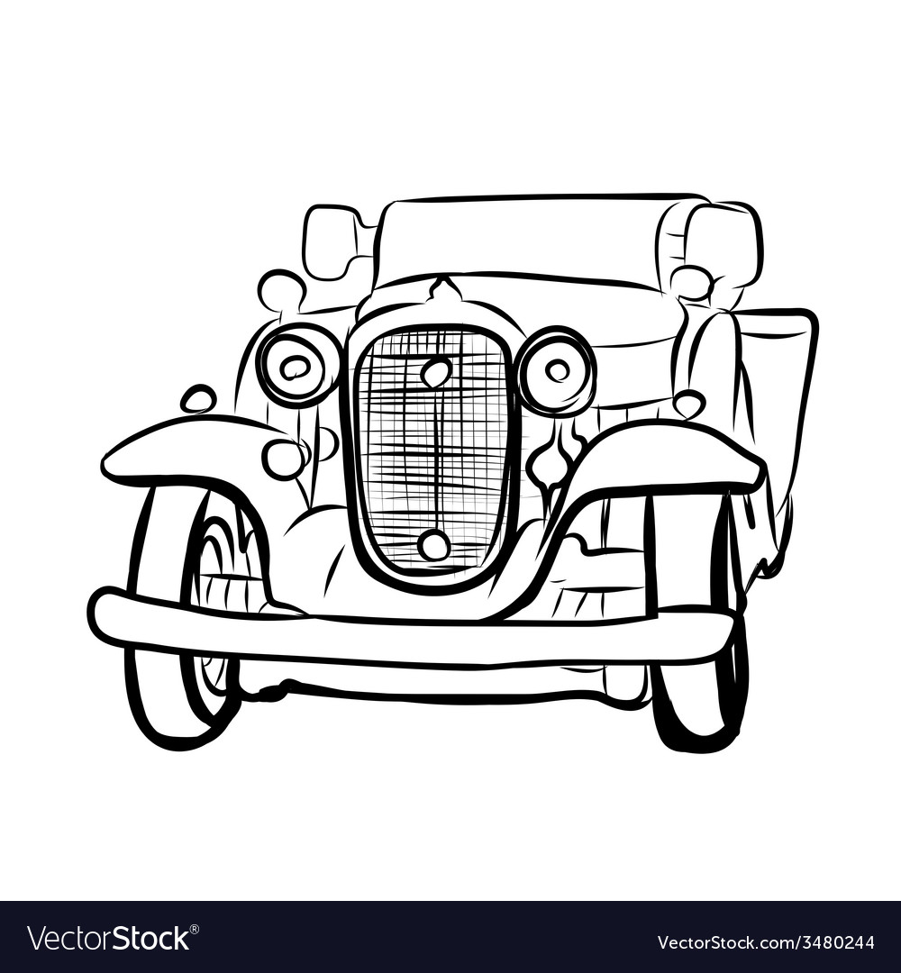 Drawing of old vintage car vector | Price: 1 Credit (USD $1)
