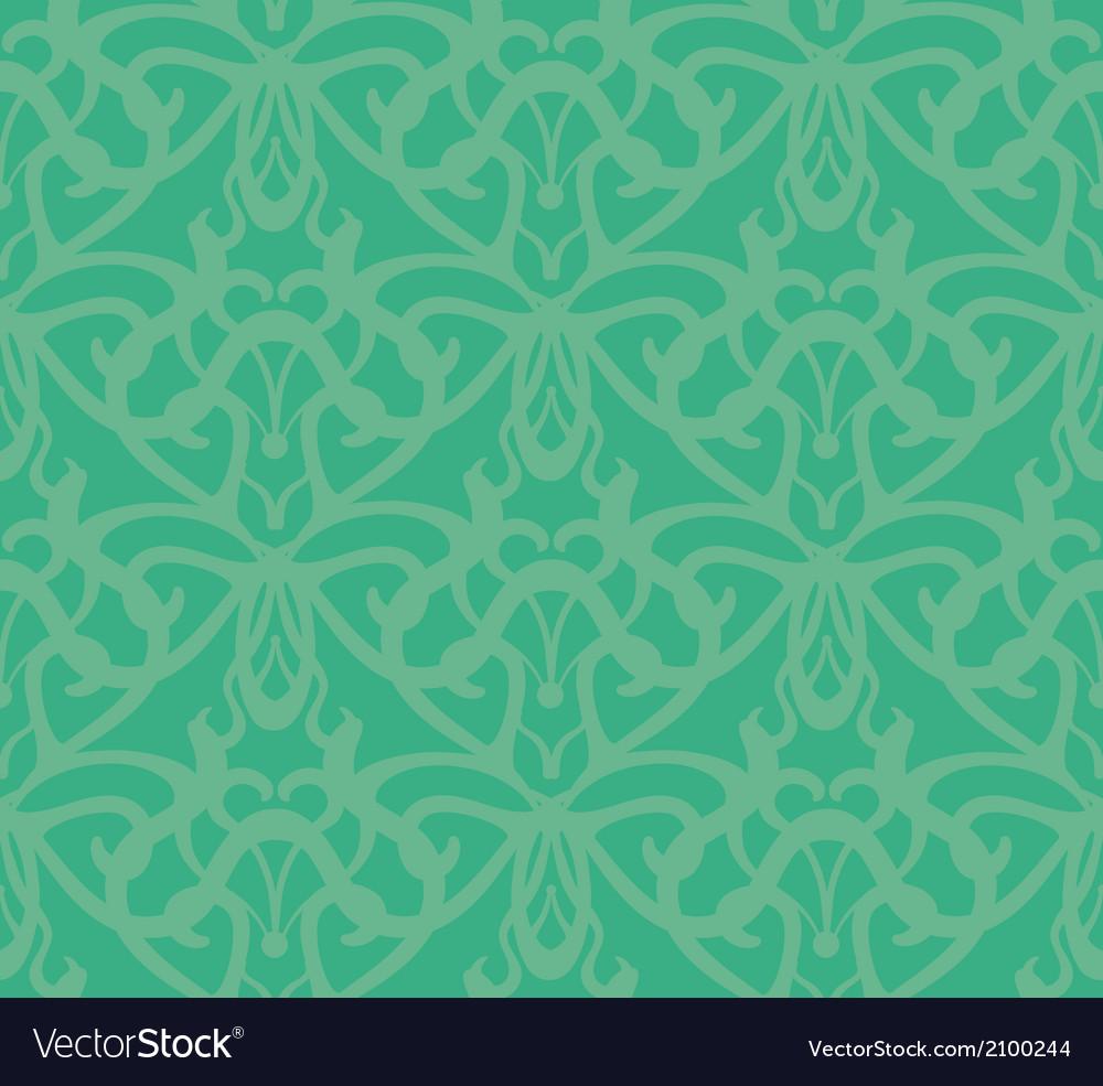 Elaborate bluish-green seamless pattern background vector | Price: 1 Credit (USD $1)
