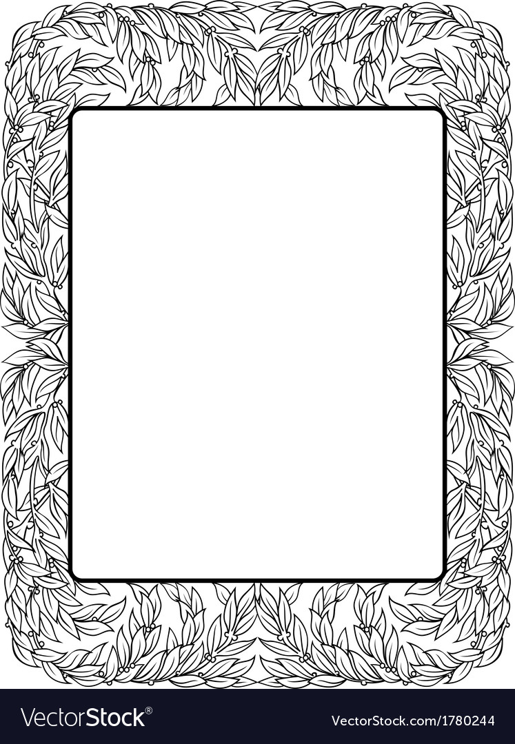 Frame with laurel black isolated vector | Price: 1 Credit (USD $1)