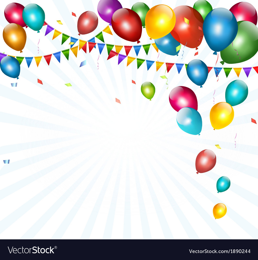 Holiday background with colorful balloons and vector | Price: 1 Credit (USD $1)