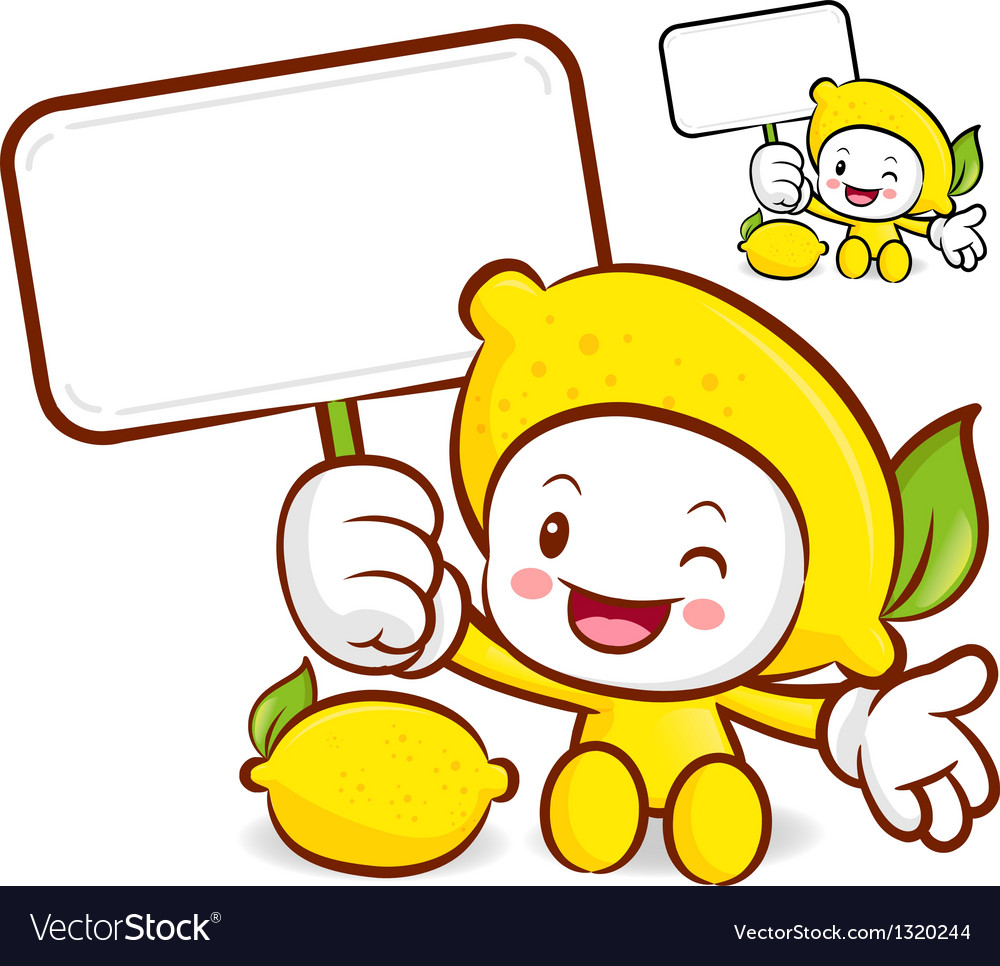 Lemon mascot the left hand is holding a picket vector | Price: 1 Credit (USD $1)