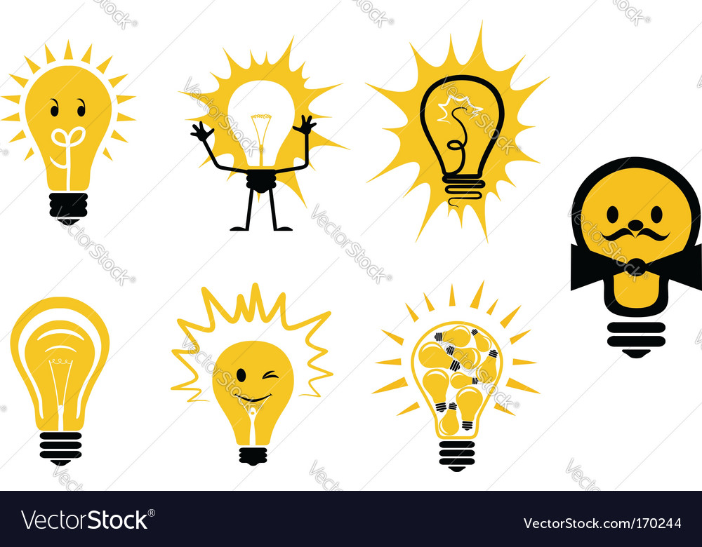 Light bulbs symbols vector | Price: 1 Credit (USD $1)