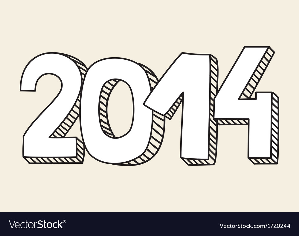 New year 2014 hand drawn doodle sign or number vector | Price: 1 Credit (USD $1)