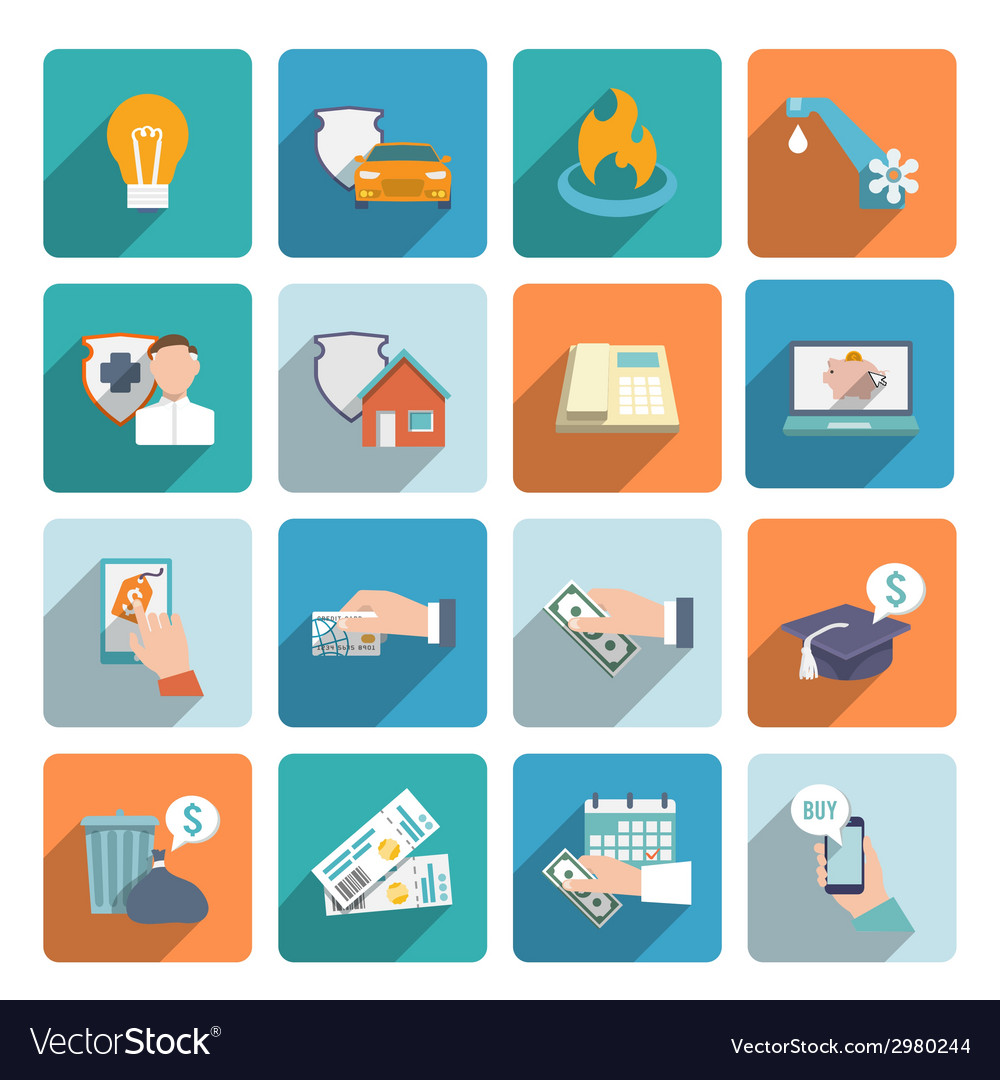 Pay bill icons flat set vector   Price: 1 Credit (USD $1)