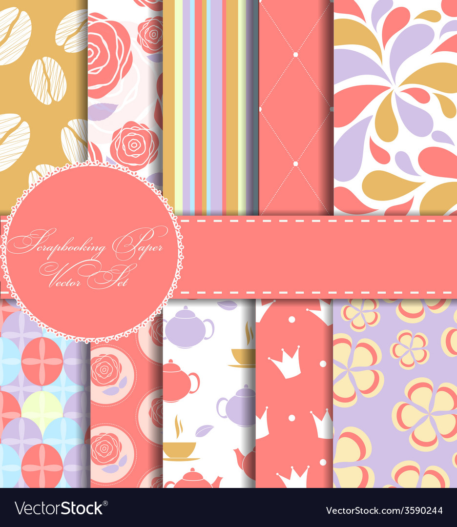 Set of beautiful paper for scrapbook vector | Price: 1 Credit (USD $1)