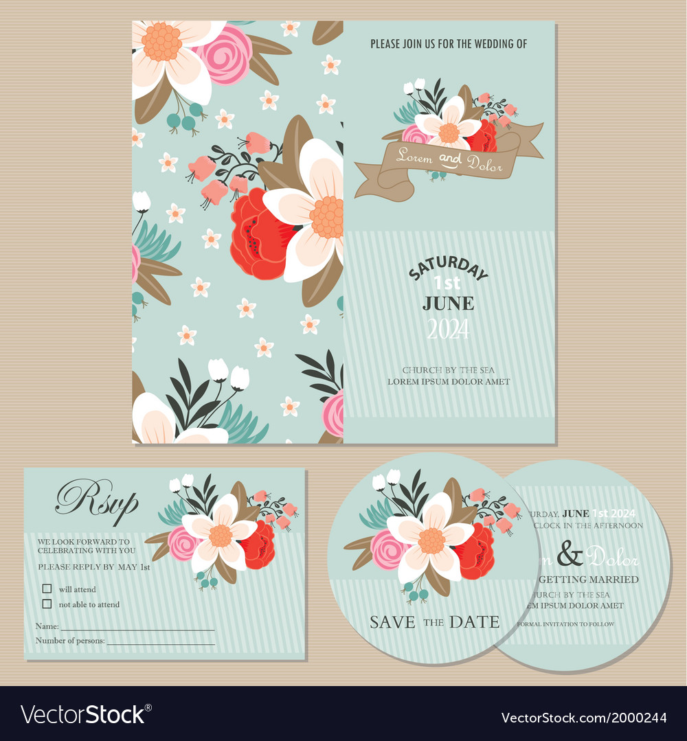 Wedding cards set vector | Price: 1 Credit (USD $1)