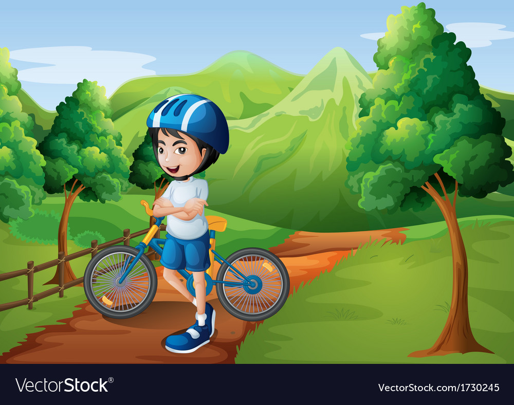 A boy standing in the middle of the pathway with vector   Price: 3 Credit (USD $3)