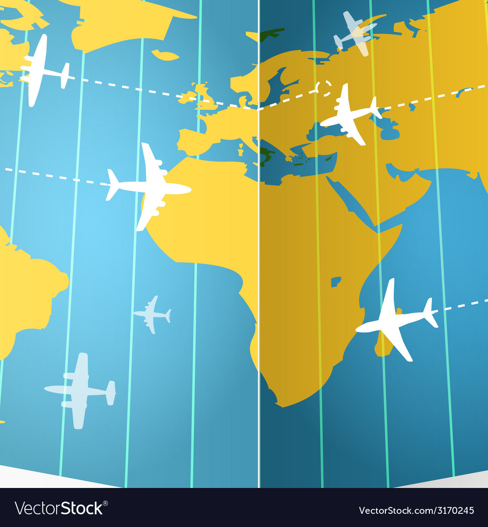 Airplanes flying over the world map vector | Price: 1 Credit (USD $1)