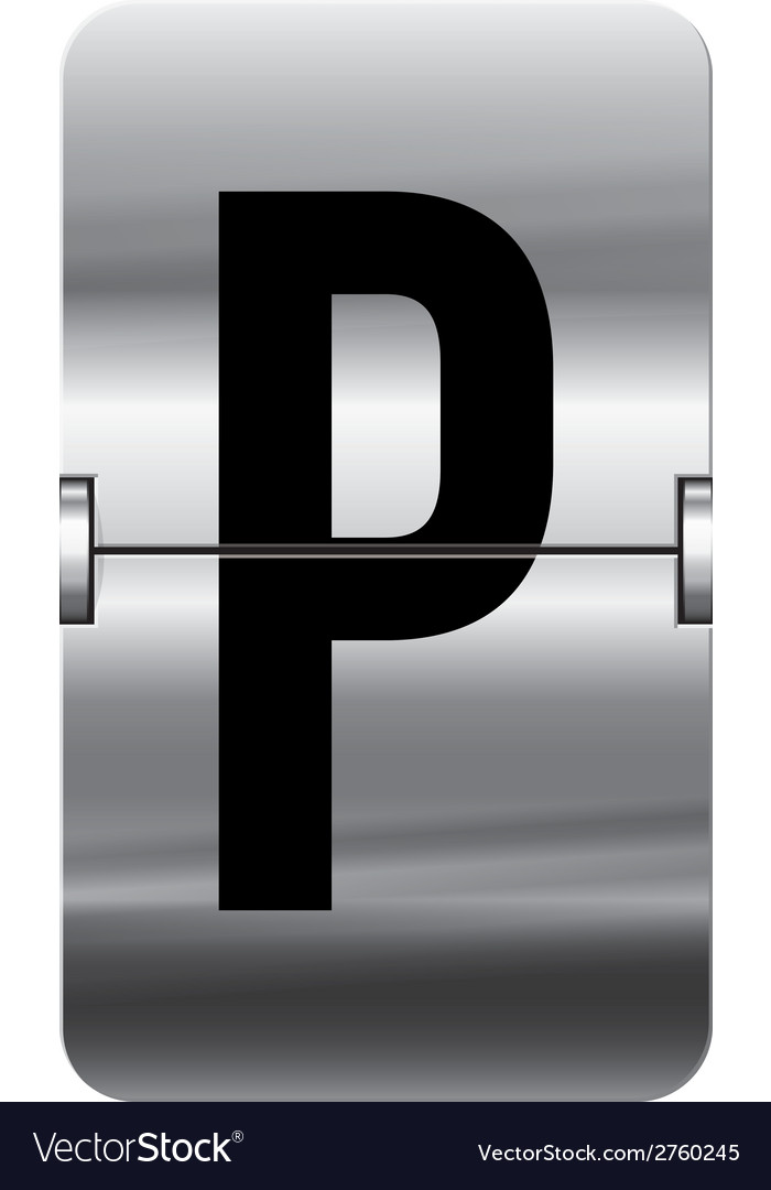Alphabet silver flipboard letters p vector | Price: 1 Credit (USD $1)