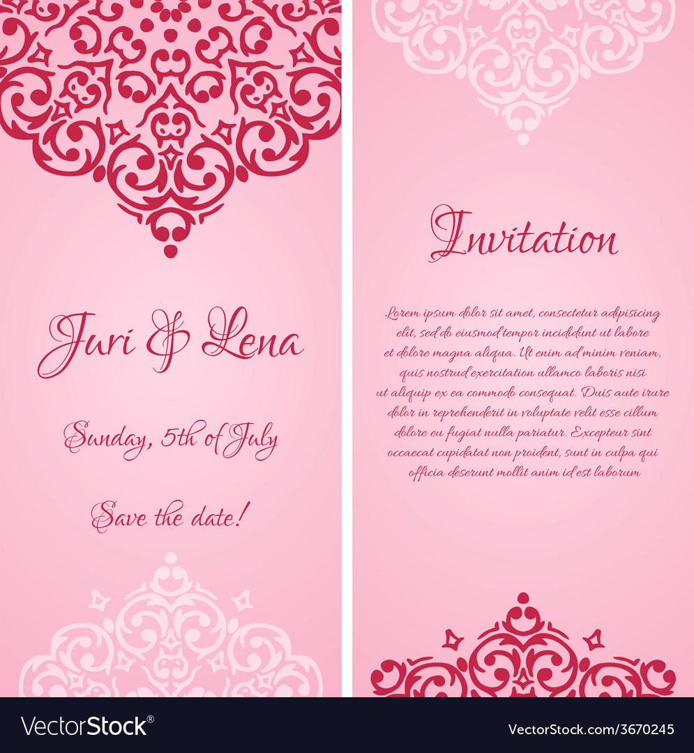 Baroque damask wedding invitation banners with a vector   Price: 1 Credit (USD $1)