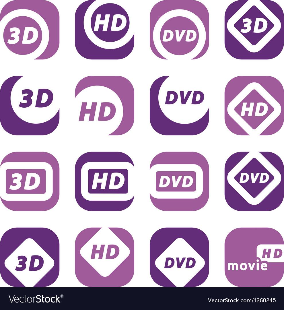 Color movie icons vector   Price: 1 Credit (USD $1)