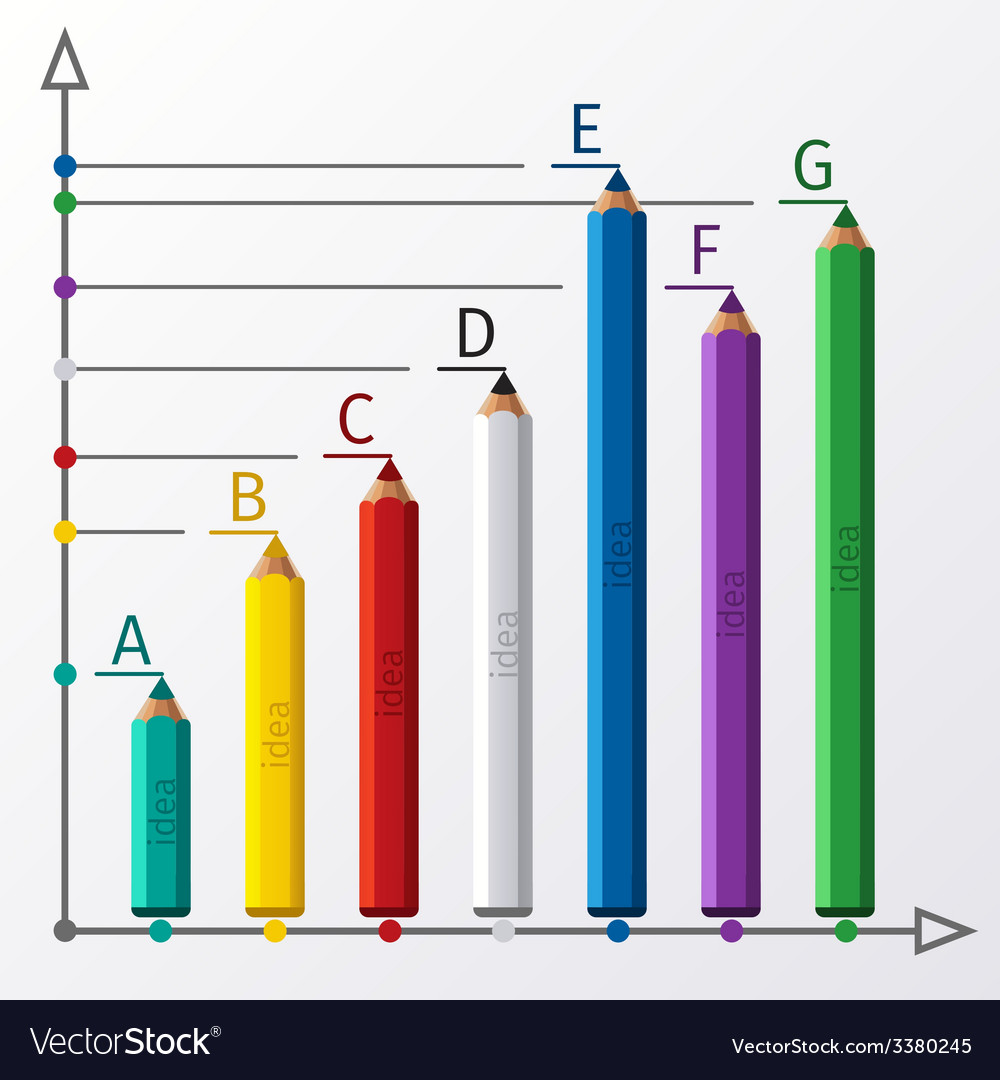 Education pencil staircase infographics option vector | Price: 1 Credit (USD $1)