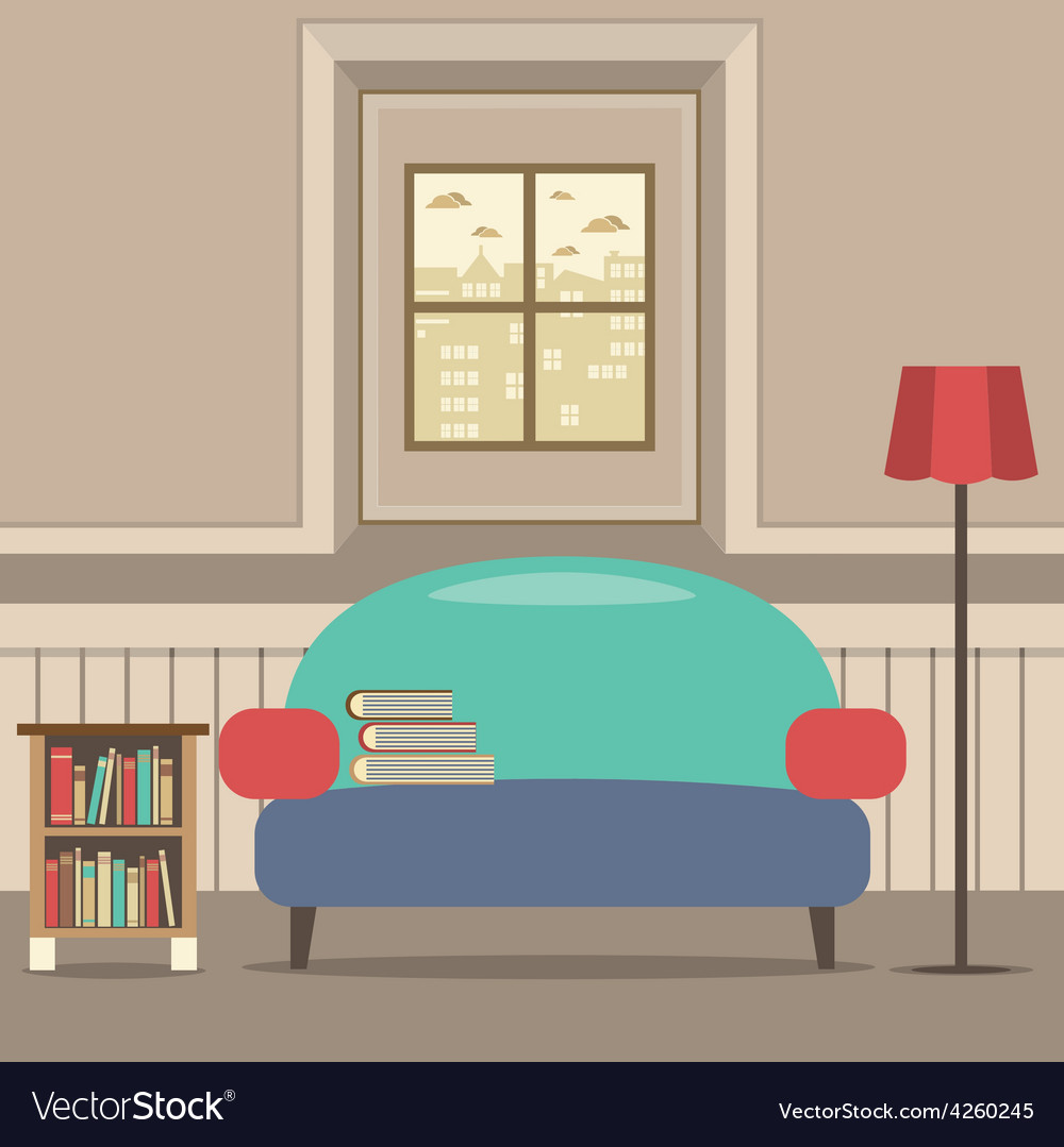 Empty couch with bookcase in front of window vector | Price: 1 Credit (USD $1)