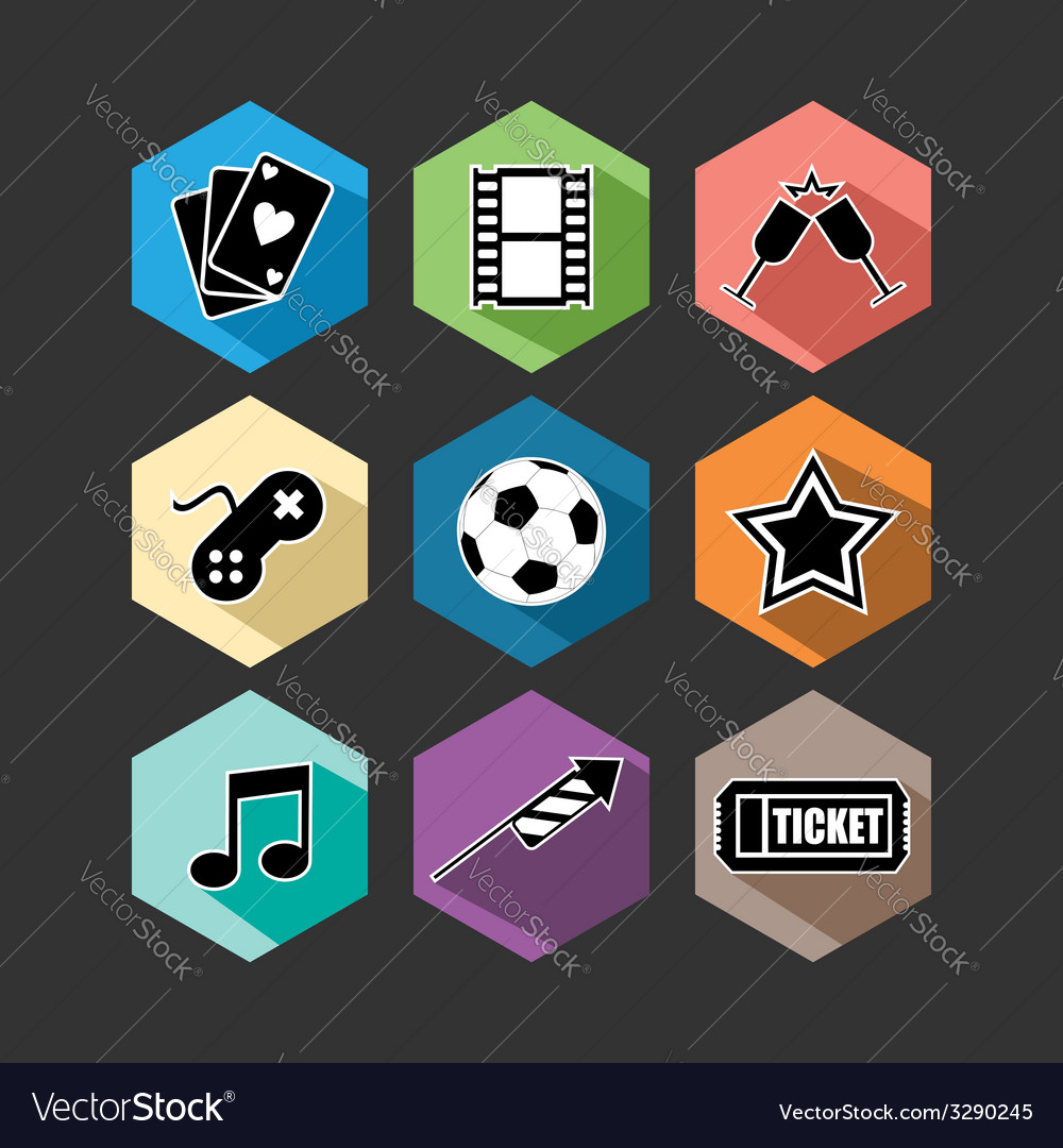 Entertainment icons set flat vector | Price: 1 Credit (USD $1)